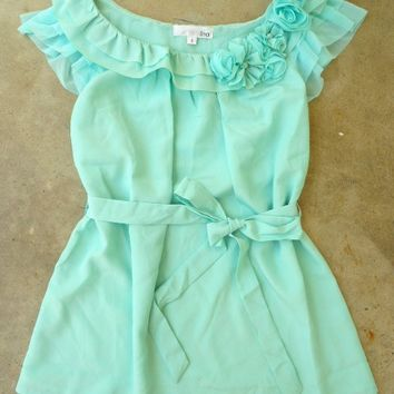 Ruffles with Rosette Mint Blouse [2266] - $28.80 : Vintage Inspired Clothing & Affordable Dresses, deloom | Modern. Vintage. Crafted.