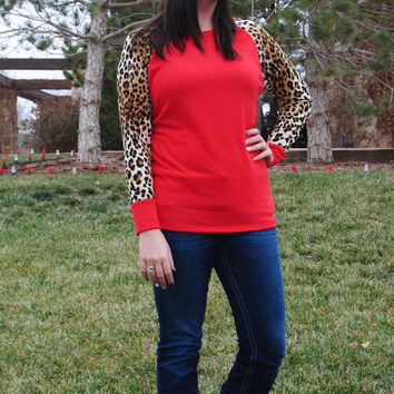 Red Knit Top with Leopard Sleeves