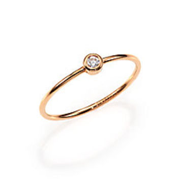 Ginette  Diamond   18K Rose Gold Solitaire Ring  Saks Fifth