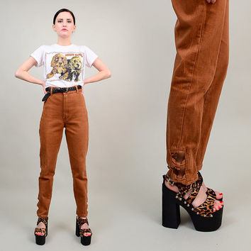 80s Brown Stretch Denim ULTRA High Waist Skinny Pants 1980s Cigarette Jeans with Ankle Bows Medium M 28