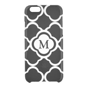 Black and White Quatrefoil with Monogram