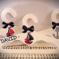 Set of Three Personalized Children's Hangers, Nautical Theme