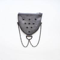 Leather Coin Purse Gunmetal Chain and Studs Dusty Purple Experiment No. 3 Handmade OOAK One of a Kind