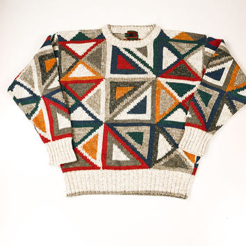 Geometric Cosby Sweater for Men by Boston Traiders Size L