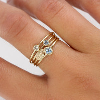 Scarlett Jewelry - Handmade Designer Jewels: Square Aquamarine Stacking Ring, Newest Designs