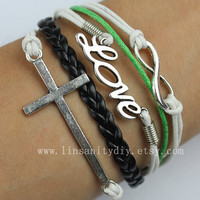 Sale - Infinity, Love and Cross bracelet, braid bracelet, wax cords, leather bracelet,Best Gift