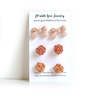 Flower Stud earrings, peach Stud earrings, dusty pink, cinnamon,