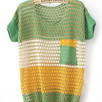 Color Block Short Sleeve Green Sweater$37.00