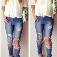 High Waisted Pants Destroyed Jeans (PREORDER)