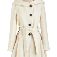 Steve Madden 60s Long Long Sleeve Once Upon a Thyme Coat in Almond