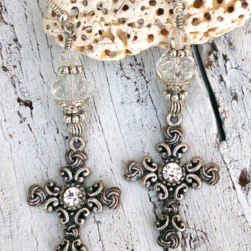 Unique Crystal Cross Earrings Religious Christian Jewelry