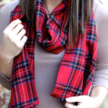 Plaid Scarf {Red} - Red Plaid Scarf