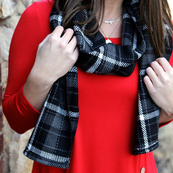 Plaid Scarf {Black} - Black Plaid Scarf