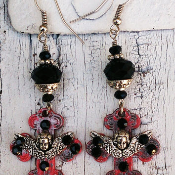 Red Patina Cross Angel Earrings Religious Christian Jewelry
