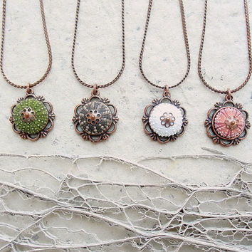 Sea Urchin Necklace - Copper Vintage style - Brown Green Pink White- Pick your Color