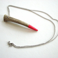 antler tip necklace - paint dipped neon pink - unisex tribal jewelry