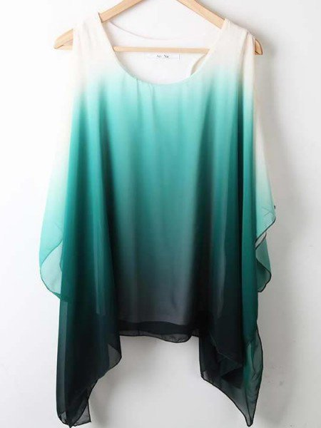 Green Round Neck Short Sleeve Asymmetrical Off the Shoulder Chiffon Shirt - Sheinside.com