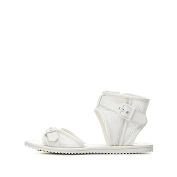 Qupid Buckled Mesh Ankle Cuff Sandals by Charlotte Russe - White