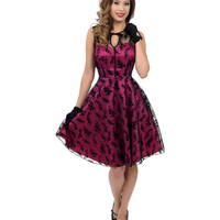 Magenta Floral Flocked Lace Overlay Flaired Cocktail Dress
