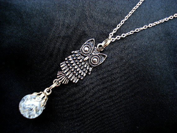 Retro Owl Bird Boho Crystal Crackle Glass Necklace