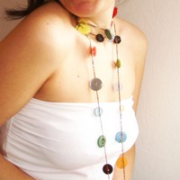 Happy Buttons  versatile crocheted necklace / by TomBjornDesigns