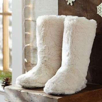Faux Fur Booties  Polar Bear