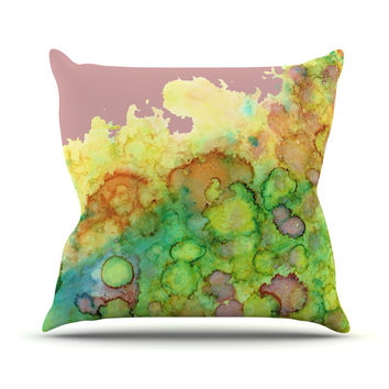 "Rosie Brown ""Sea Life III"" Green Pink Throw Pillow"
