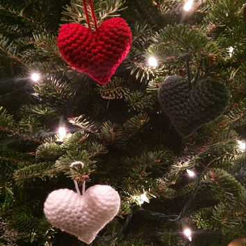 Crochet Heart Christmas Ornaments Red white and green Set of 3