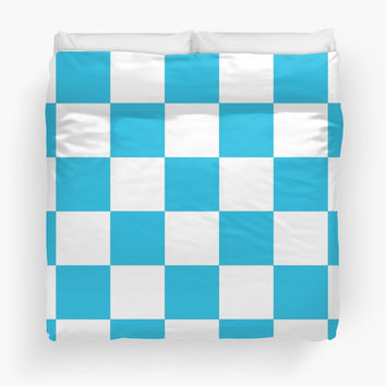 Blue And White Checkered Print