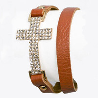 New!! Cross Leather Wrap Bracelet