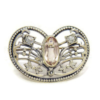 SALE Antique Brooch Art Nouveau Brooch 10k White Gold Filigree and Pink Glass