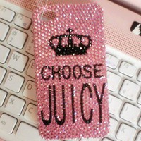 Bling Sparkle Crystals Choose Juicy Pink iPhone 44S Case