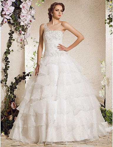 [USD $ 299.99] Ball Gown One Shoulder Court Train Organza Weeding Dress
