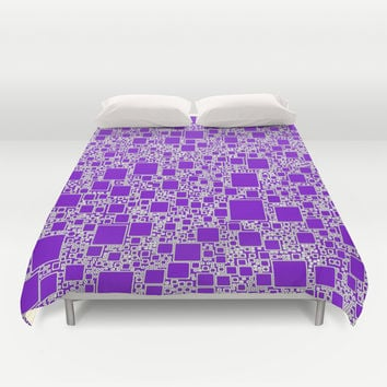 Boxes Purple Duvet Cover by Alice Gosling