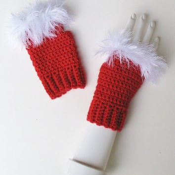 Santa Claus / Mrs. Claus Christmas Wristwarmers, Red Fingerless Texting Gloves, Furry White Trim, Festive Holiday Accessory, Ready to Ship