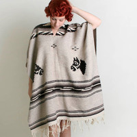 Vintage Horse Poncho - Beige and Chocolate Brown Woven Cape Jacket - Autumn Fall Winter Fashion