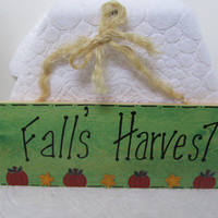 Fall Harvest Wood Painted Wall Welcome Sign