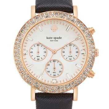 Women's kate spade new york 'metro grand' crystal bezel leather strap watch, 38mm - Black/ Rose Gold