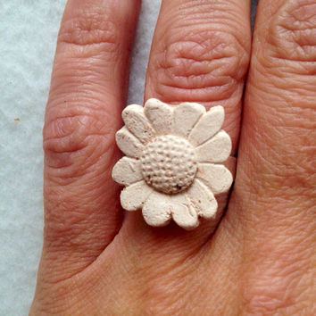 Handmade Essential oil Flower ring textured pottery on silver plated ring adjustable Perfect for Valentine's Day large lead and nickel free