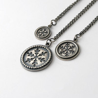 Snowflake Necklace - sterling silver one of a kind handmade snowflake necklaces