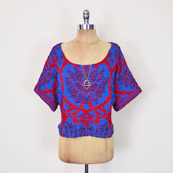Vintage 80s Red & Blue Abstract Sweater Top Abstract Print Sweater Reconstructed Sweater Slouchy Sweater Oversize Sweater 80s Sweater S M L