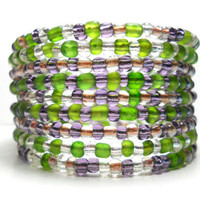 Memory Wire Bracelet Purple and Green Checkered Beaded Wrap Bracelet