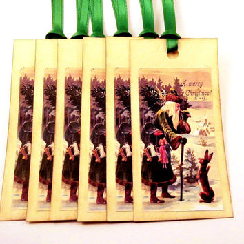 Santa Tags - Vintage Santa Claus with Green Coat and Rabbit - Vintage Style Holiday Gift Tags, Christmas Tags - Set of 6