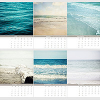 2013 Beach Calendar - Ocean Sea Seascape Water Blue Teal Aqua Desktop Calendar - Christmas Gift for Her, Hostess Gift, Teacher Gift.