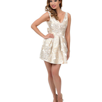 Cream & Gold Metallic Rose & Bow Flare Dress