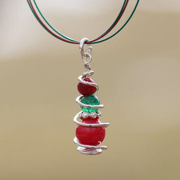 Simple pendant, red and green, Christmas gift, red coral and green aventurine, minimalist jewelry
