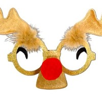 Reindeer Glitter Rudolph Eyeglasses Ugly Sweater Party Christmas X Mas sunglasses
