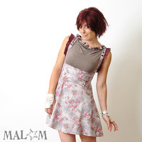 High waisted skirt Vintage floral jersey with suspenders - pink and grey print - sz S-M