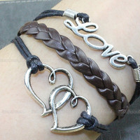 Silver karma couple bracelet - silver LOVE bracelet, silver heart bracelet, have mutual affinity bracelet, the best couple gift