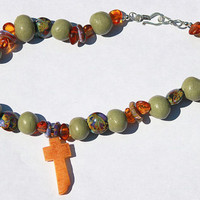 Clay Bead and Lampwork Bead Necklace with Amber Cross